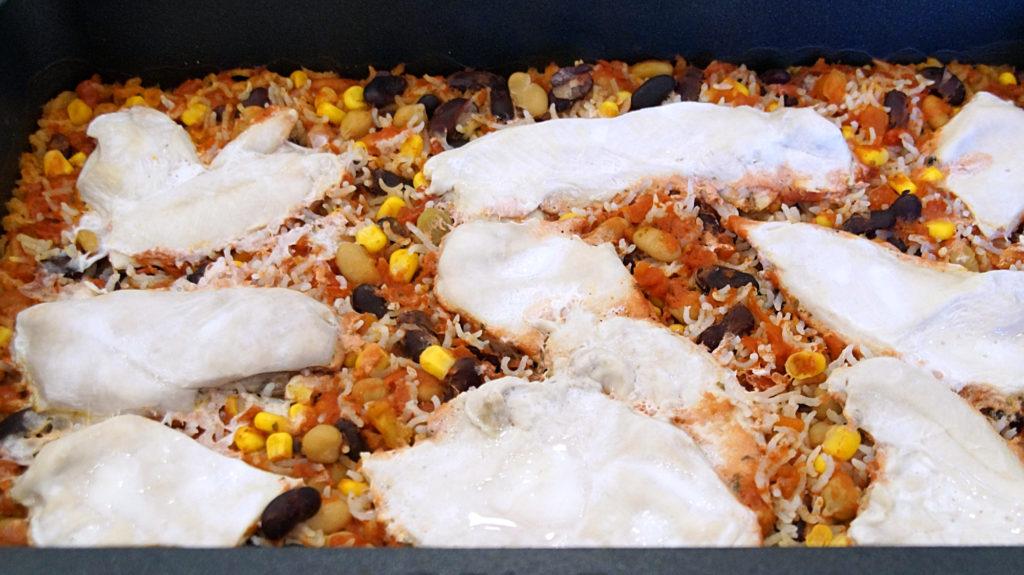 Bohnen Reisauflauf Hähnchenbrustfilet