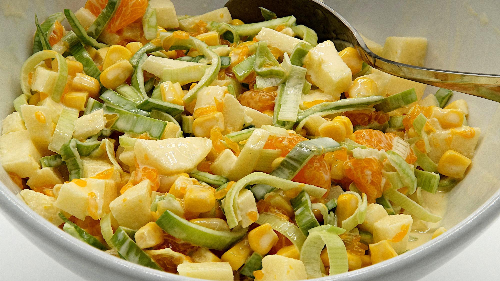 Lauch Mais Mandarinen Salat